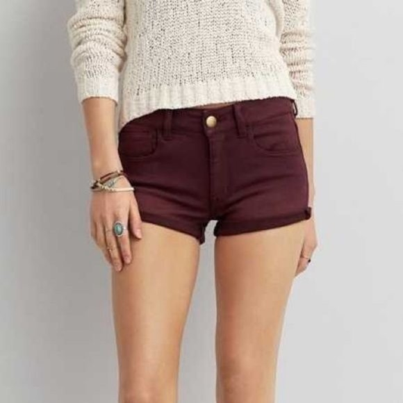 American Eagle Outfitters Pants - AEO  Hi-Rise Shortie Maroon Shorts | 10